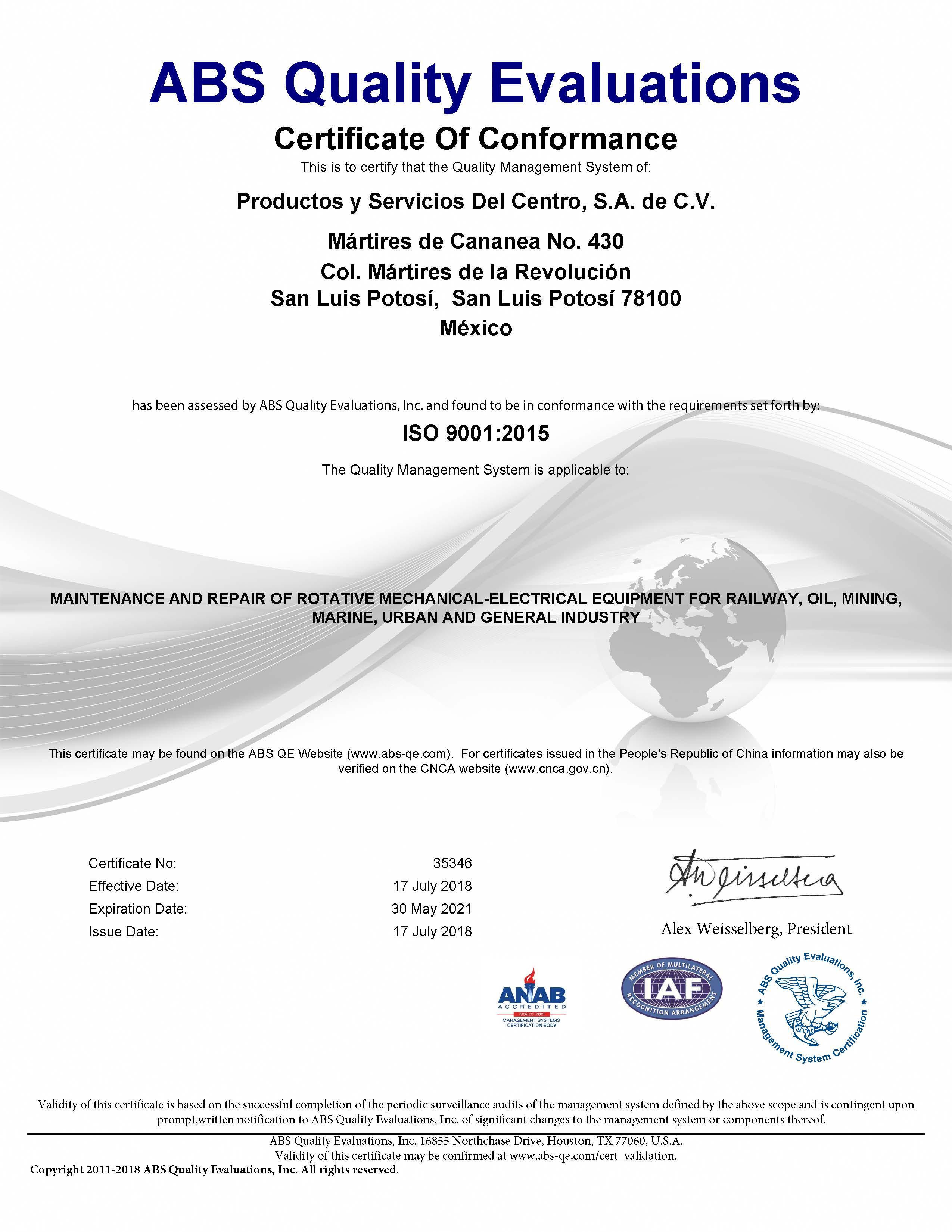certificado 9001 2015