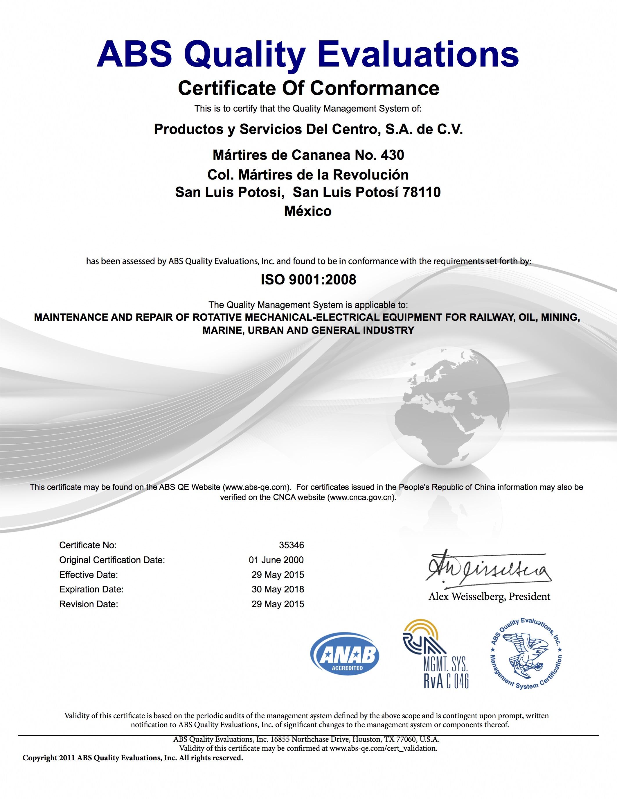Certificado ISO 9001-2008 35346 (2015)
